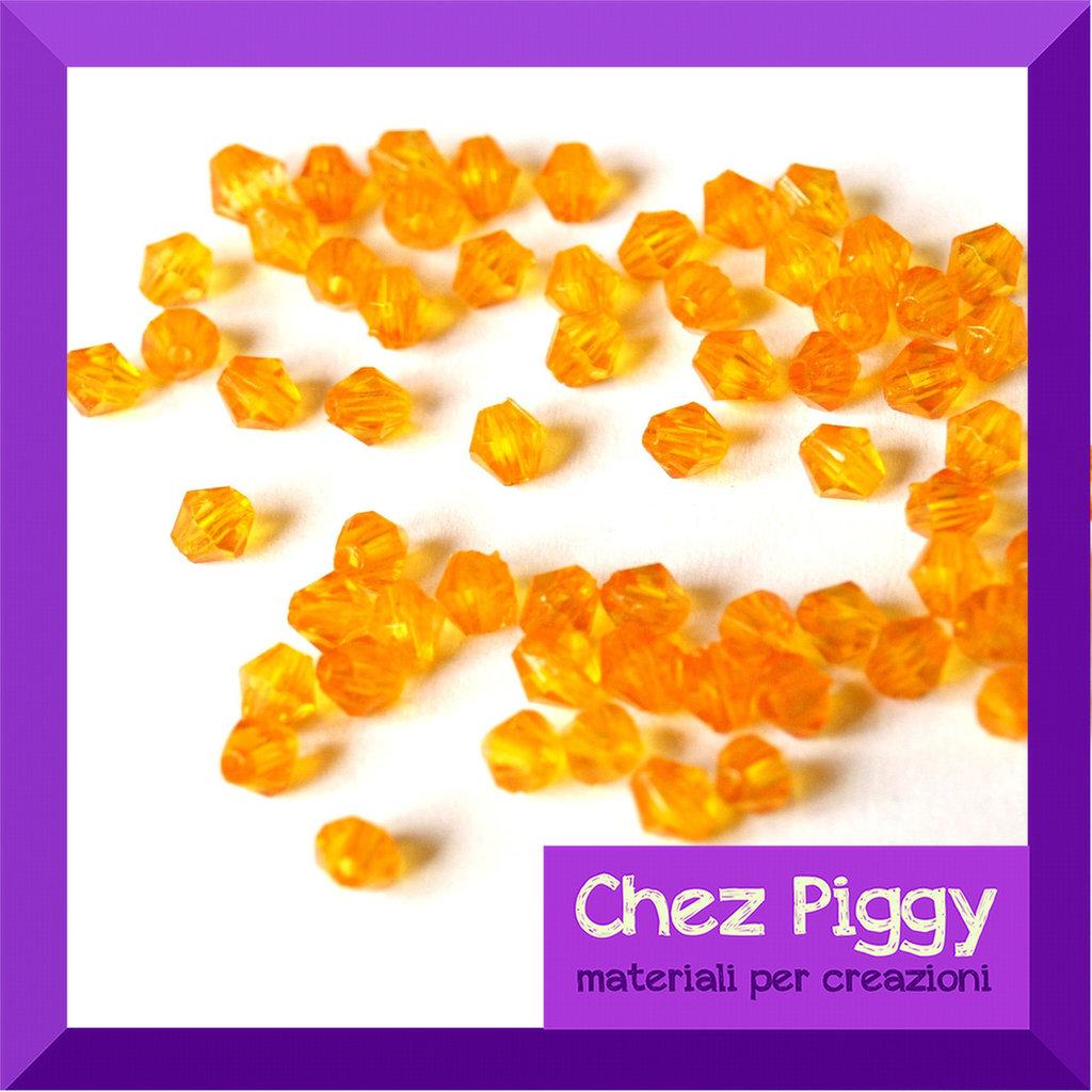 50 x perle bicono acriliche arancioni