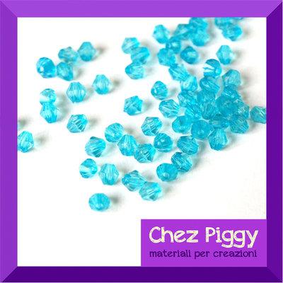 50 x perle bicono acriliche azzurre