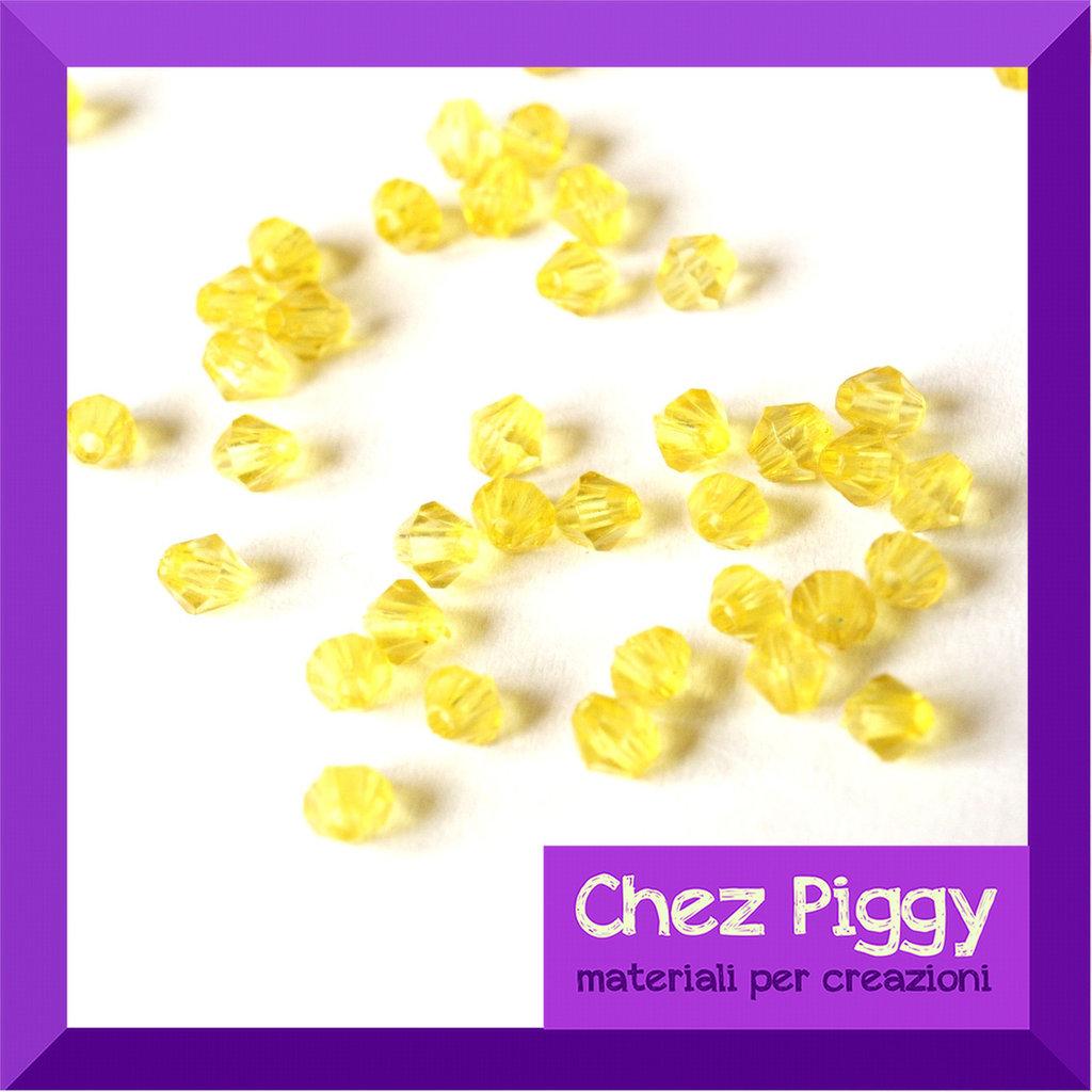 50 x perle bicono acriliche gialle
