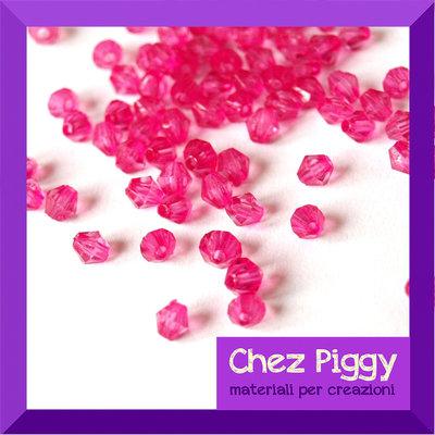 50 x perle bicono acriliche pink