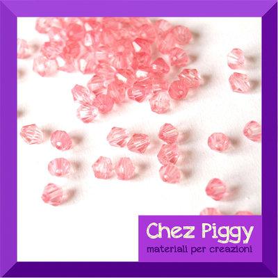 50 x perle bicono acriliche rosa