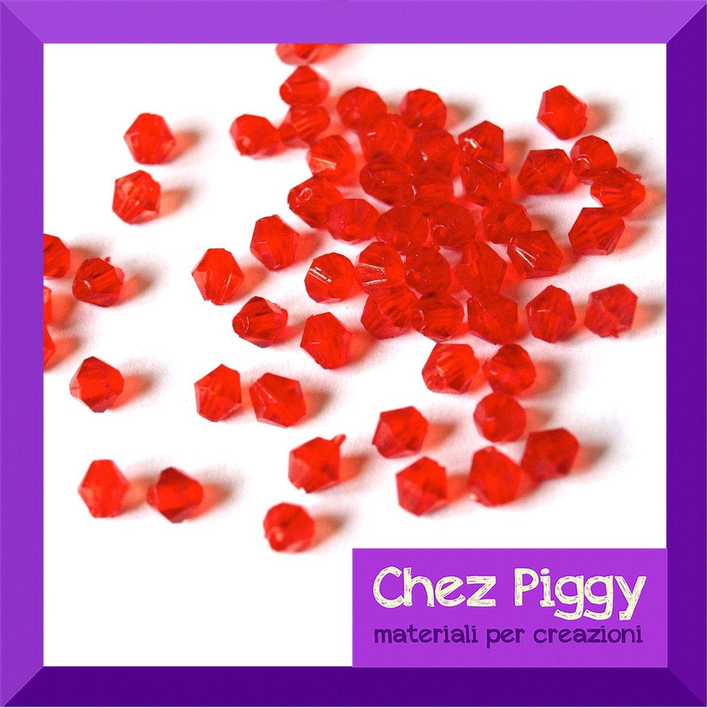 50 x perle bicono acriliche rosse