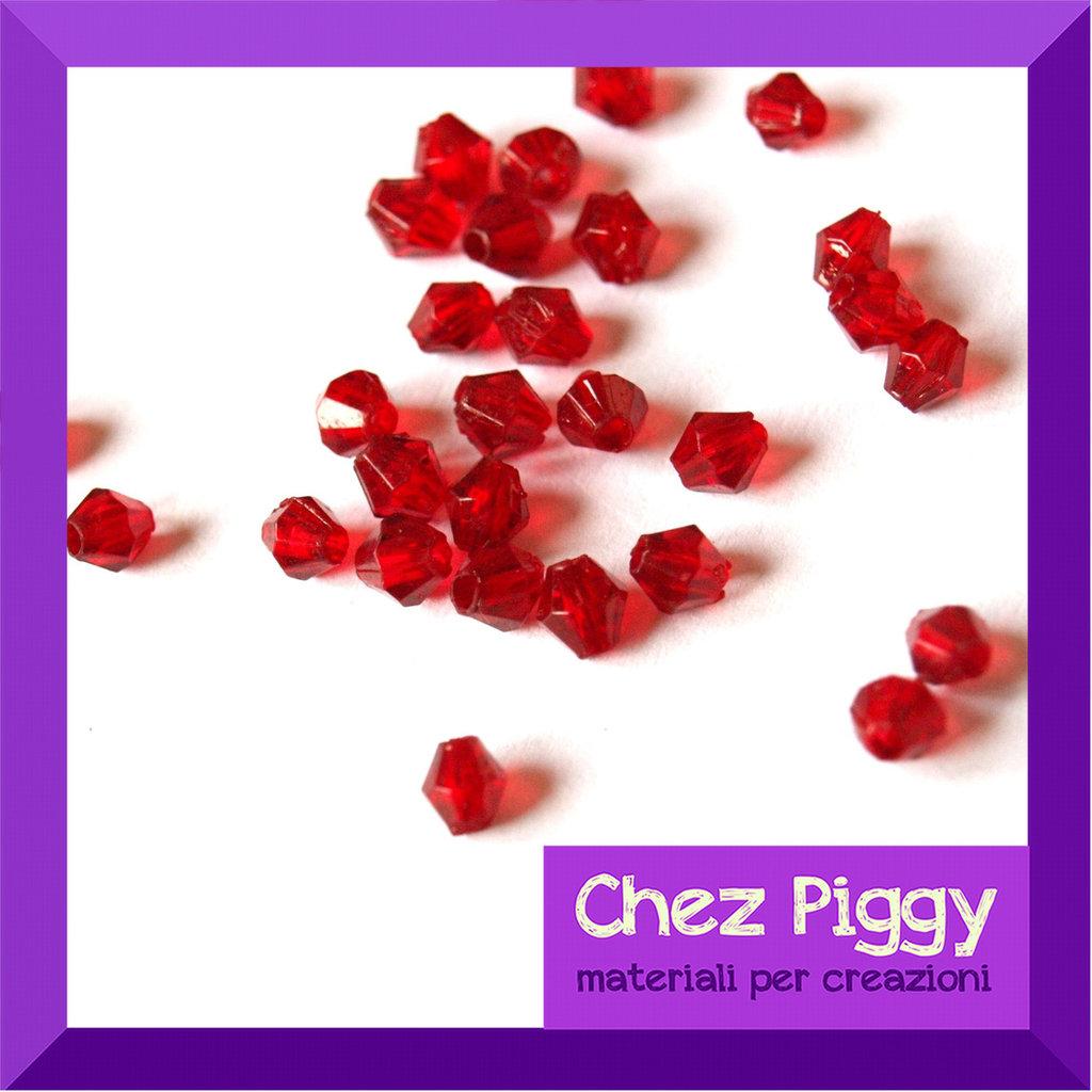 50 x perle bicono acriliche rosso rubino