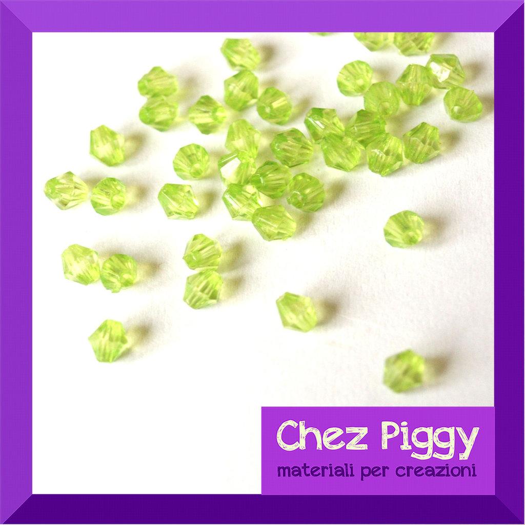 50 x perle bicono acriliche verde
