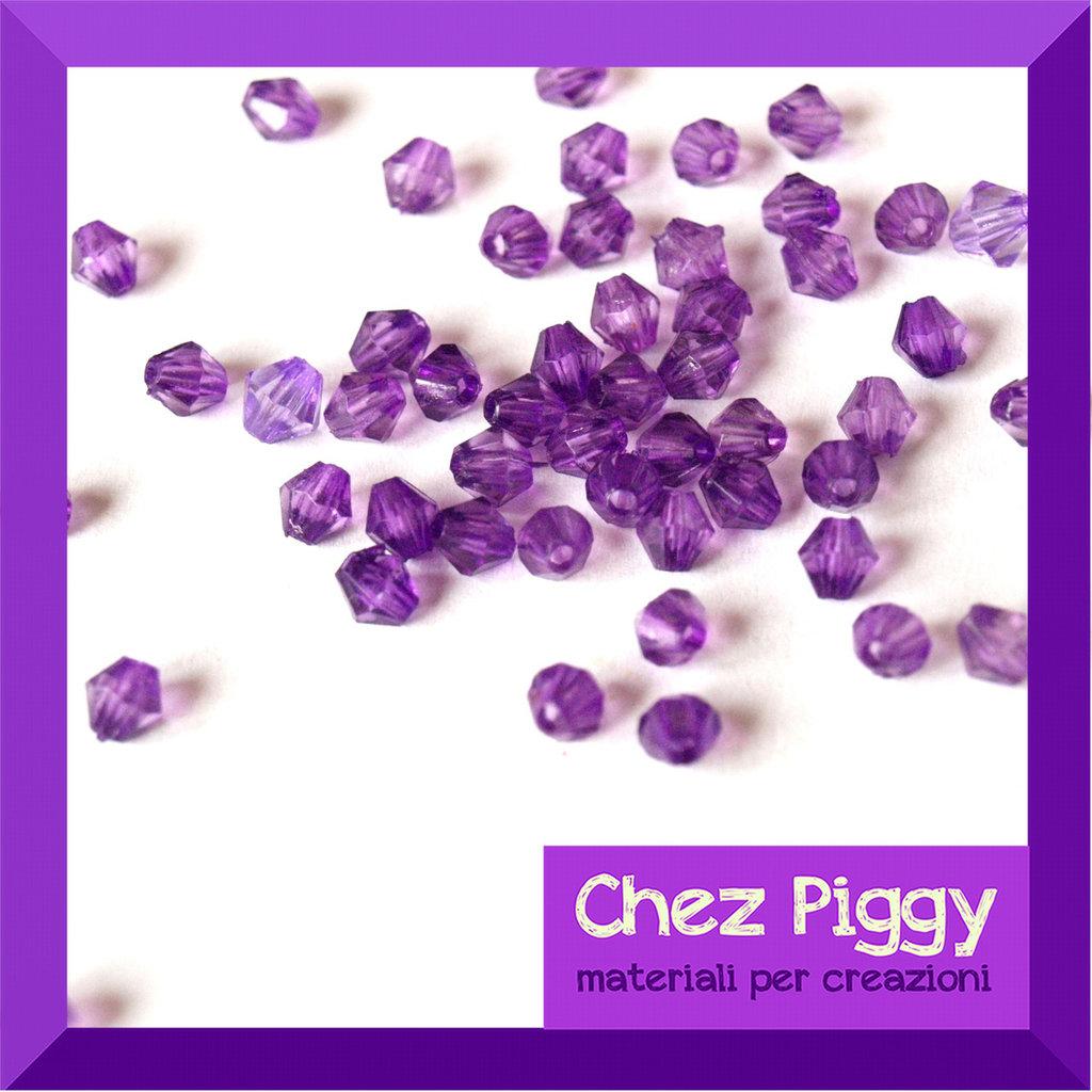50 x perle bicono acriliche viola