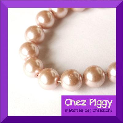 10 x perle di vetro rosa antico 12 mm
