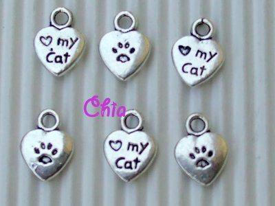 "10 charms cuore ""my cat""12x9mm"