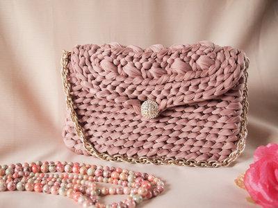 Borsa in fettuccia fatta a mano all'uncnetto, Crochet hand made