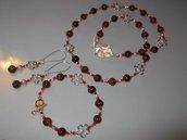 1349  Collana giada marrone naturale 3 pezzi        SPEDIZIONE GRATUITA