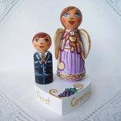 Personalizzato prima comunione torta decorazione figurini angelo
