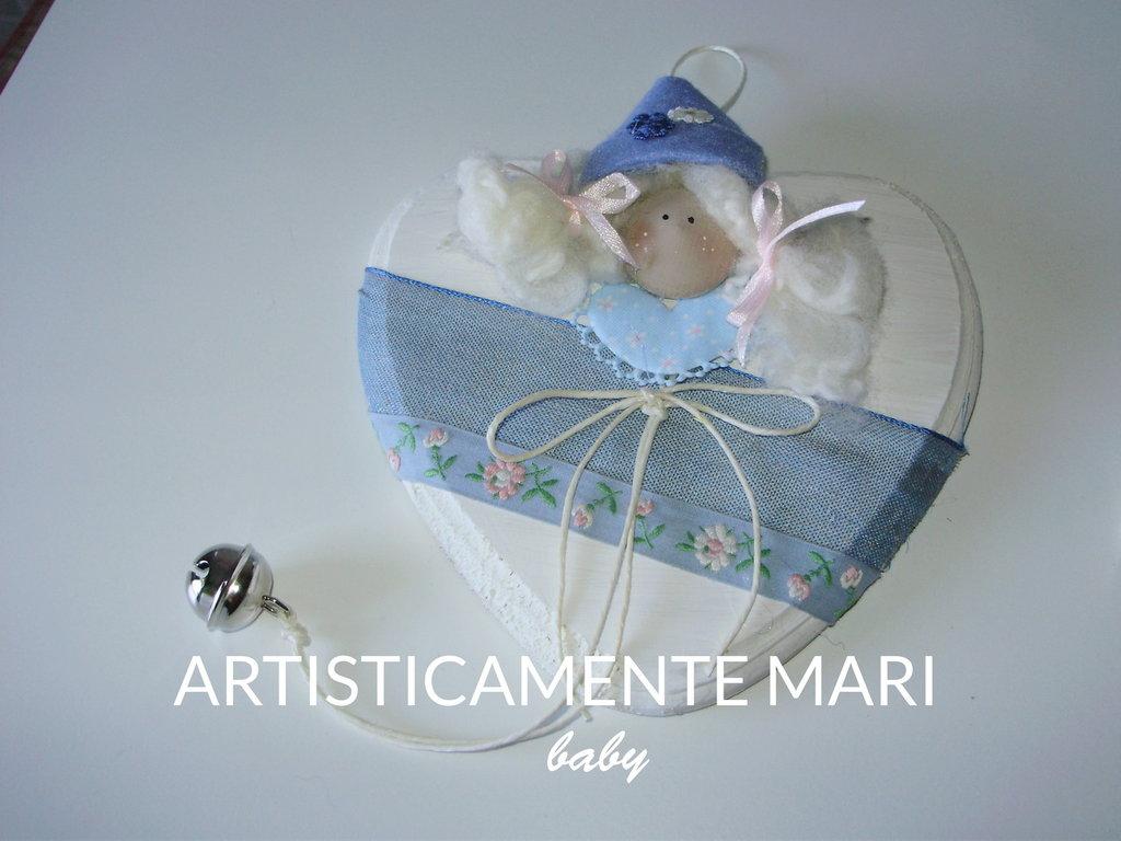 CUORE BABY IN LEGNO DIPINTO A MANO, fiocco nascita, fatto a mano
