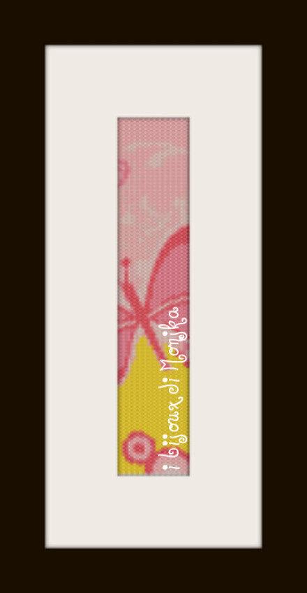 schema bracciale Farfalla rosa e gialla in stitch peyote pattern - solo per uso personale