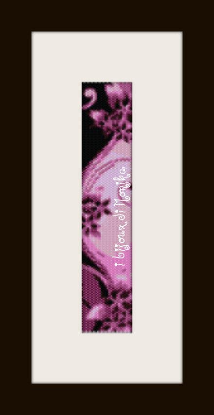 schema bracciale Fiori fuchsia in stitch peyote pattern - solo per uso personale