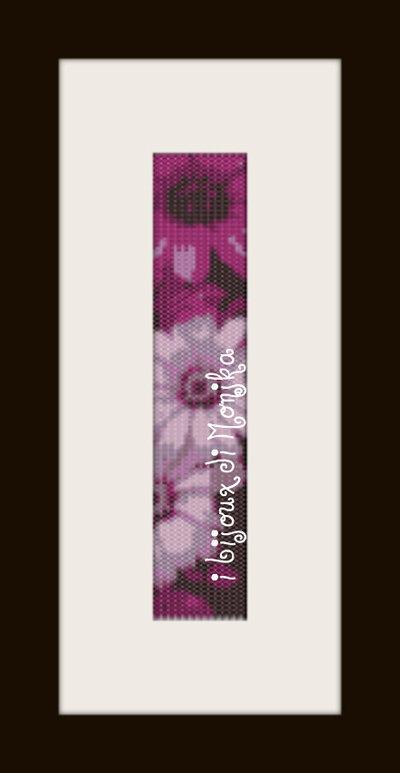 schema bracciale Fiori viola in stitch peyote pattern - solo per uso personale