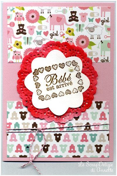 "Card nascita ""Bébé est arrivé"" (versione rosa)"