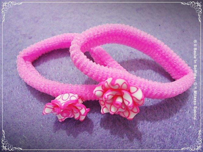 Codini per capelli con fiore in Fimo