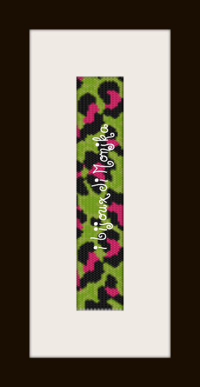 schema bracciale maculato verde in stitch peyote pattern - solo per uso personale
