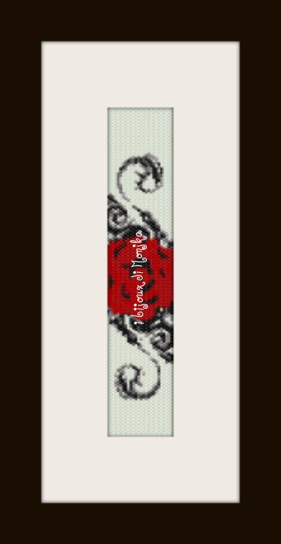 schema bracciale Rosa rossa in stitch peyote pattern - solo per uso personale