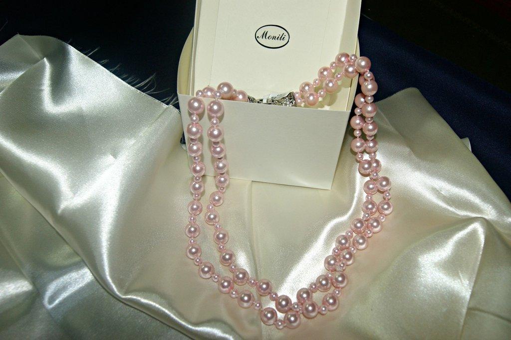 collana perle rosa due fili