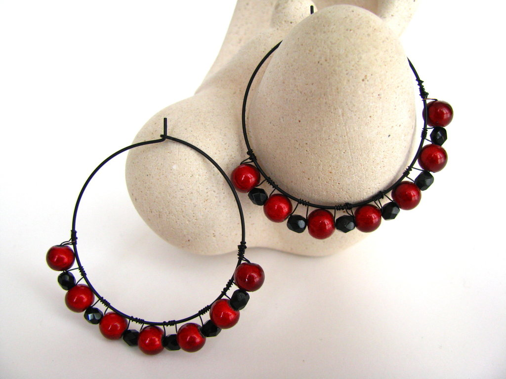 Hoop earrings with bright red round beads and black Czech crystal