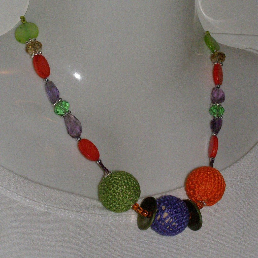 collana cotone viola, verde, arancio