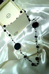 collana lunga perle e centrali onice - Lune e onici