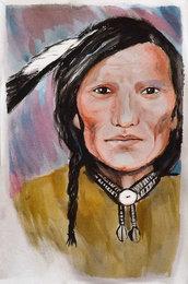 nativo americano acquerello su cartoncino dipinto a mano