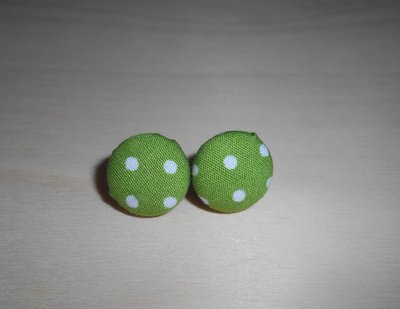 Orecchini a Bottoncino in stoffa Pois - Stud Earrings Retrò