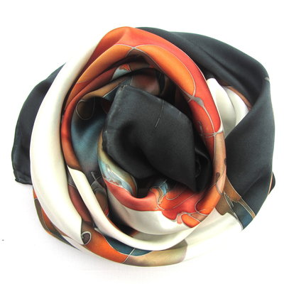 FOULARD IN PURA SETA DIPINTA A MANO IN COLORI BRILLANTI E SOLIDI