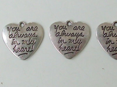 "3 charms cuore ""you are always in my heart"" vend."