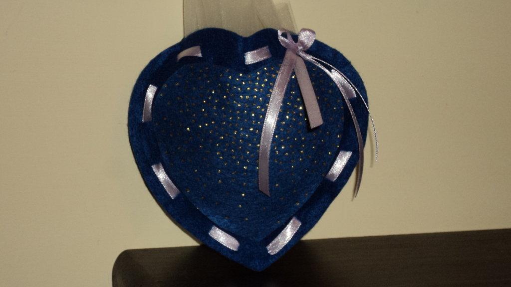 sacchetti portacofetti artigianali fai da te cuore blu glitterato