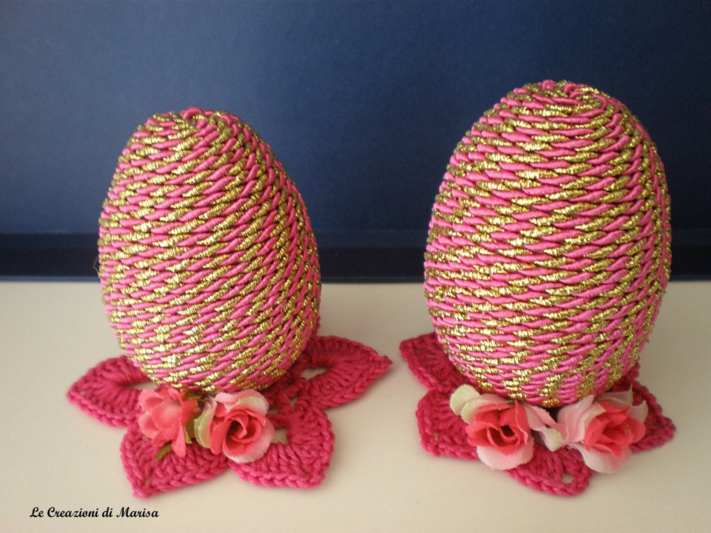 uova segnaposto con uncinetto