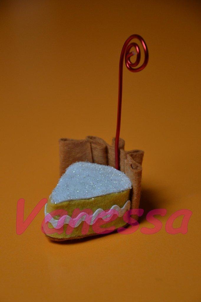 Portafoto in pannolenci - Fetta di torta