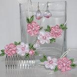 """Set (collana, braccialetto, orecchini,pettinino)""""Primavera""""  kanzashi fatta a mano"""