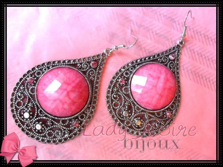 Orecchini pendenti a goccia  rosa color argento con strass (ANALLERGICI)