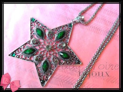 Collana con stella verde in argento tibetano anallergico