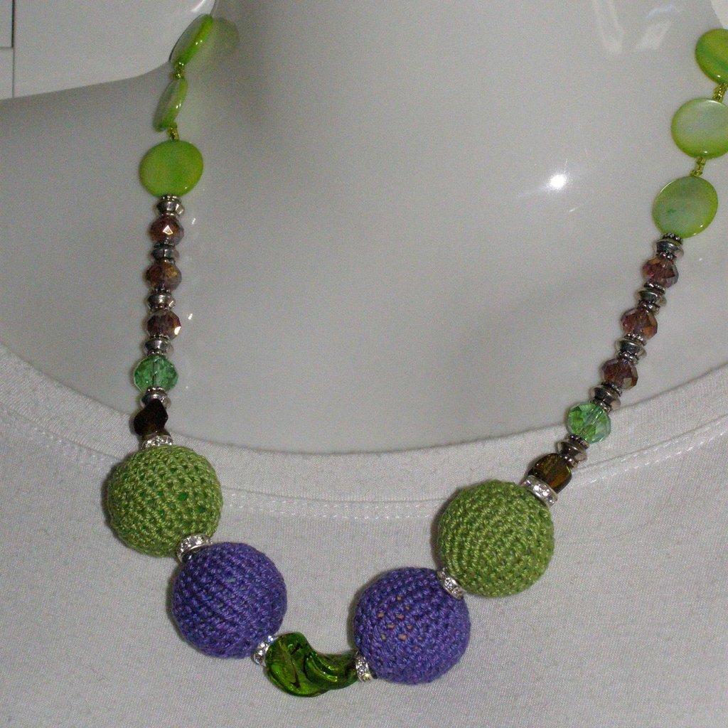 collana cotone viola e verde