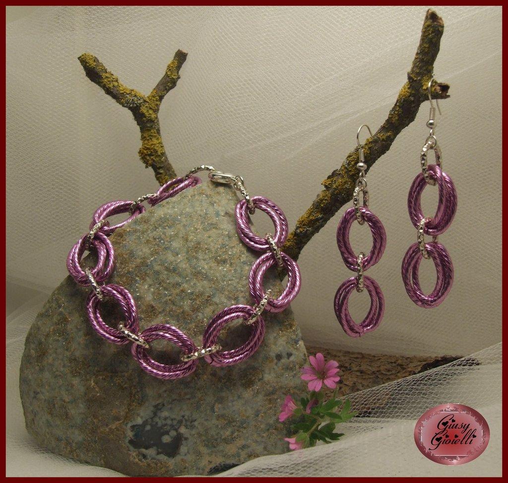 Parure braccialetto e orecchini chainmail