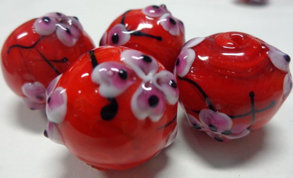6 Perline Vetro Rosso con Fiorellini
