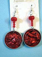 orecchini tondi cialde  rosse