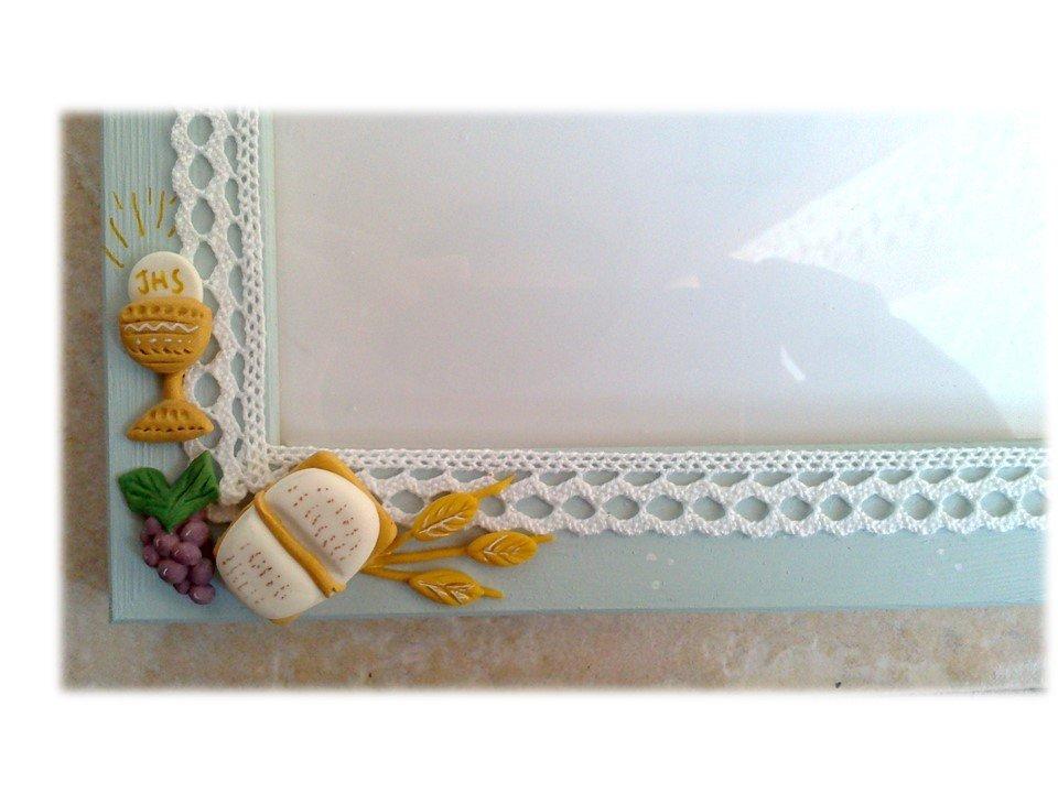 Cornice Prima Comunione Bomboniera regalo Bimbo (Bibbia, calice, eucarestia, croce, giglio)