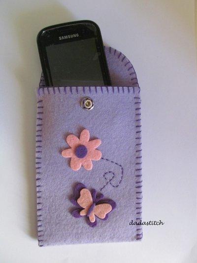 Porta cellulare in feltro con applicazioni