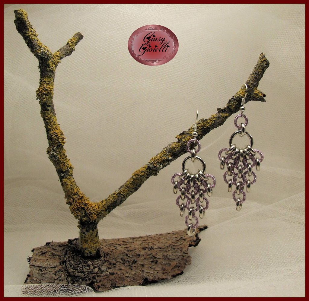 Orecchini chainmail argento-rosa