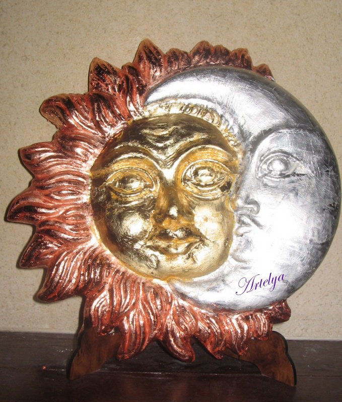 Sole e Luna in foglia oro,argento e rame