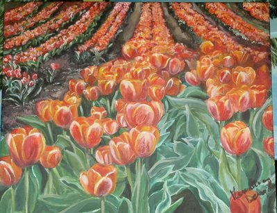 Dipinto campo di tulipani