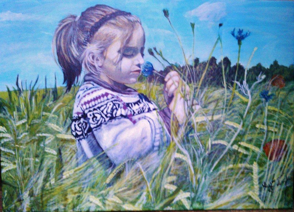 Tela Bambina in campo di grano