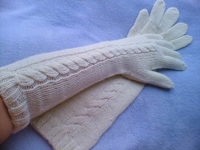 Extra Long Armwarmers-Five Finger Cable Knit Cream White Gloves