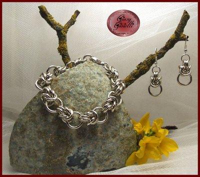 Parure braccialetto e orecchini chainmail in alluminio