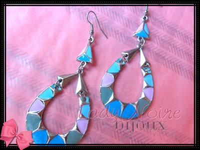 Orecchini pendenti a goccia  rosa e azzurri color argento (ANALLERGICI)