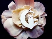 Ciondolo Moon owl oro bianco Adornos